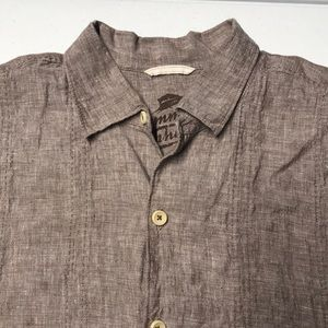 TOMMY BAHAMA Mens XL Brown Linen Shirt